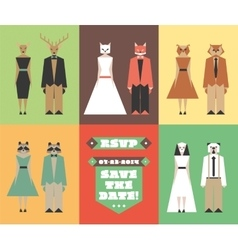 Wedding invitation figures with animal heads vector