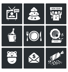 New year corporate icons set vector