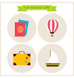 Flat voyage website icons set vector
