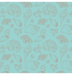 Vintage seamless pattern of seashells vector