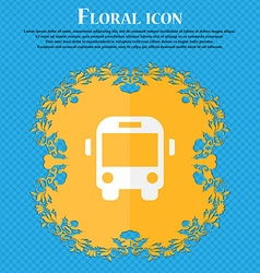 Bus floral flat design on a blue abstract vector