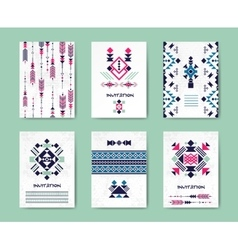 Native american tribal creative cards and vector image