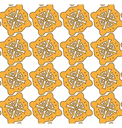 Yellow cookies on the white backdrop pattern vector