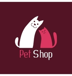 Cat and dog are best friends sign for pet shop vector