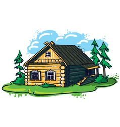 Sketchy hand-drawn house russian hut vector