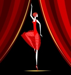 Dancing ballerina in red vector