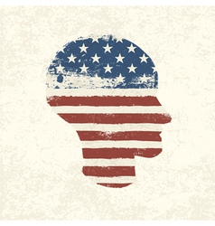 american flag head shaped vector image