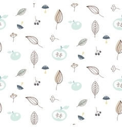 Apples and leaves seamless pattern vector image vector image