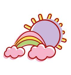 Beauty rainbow with cloud and sun vector