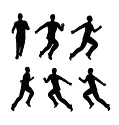 Boy silhouette in running pose vector