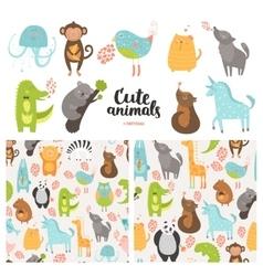 Cartoon animals collection vector
