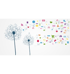 Colorful social network flower vector image