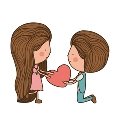 couple with heart in her hands vector image