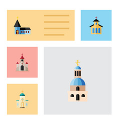 Flat icon building set of church catholic vector