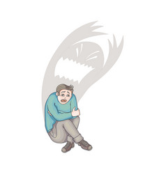 flat man suffering from depression fear vector image vector image