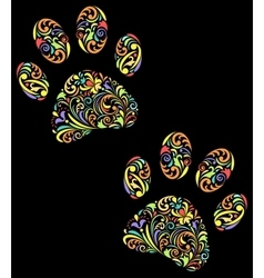 Floral animal paw print on black background vector