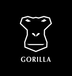 Gorilla head logo element on black background vector