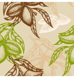 Hand drawn almond seamless pattern branch of vector