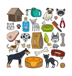 hand drawn cats and dogs vector image vector image