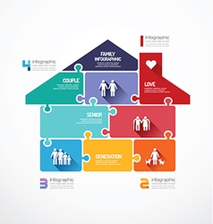 house shape jigsaw banner family concept vector image vector image