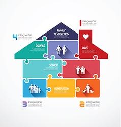 house shape jigsaw banner family concept vector image