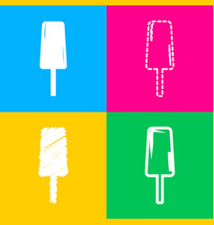 ice cream sign four styles of icon on four color vector image vector image