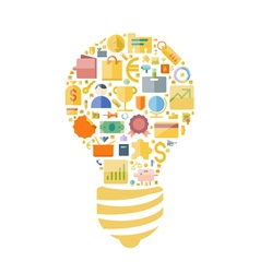 icons shape flat light bulb vector image