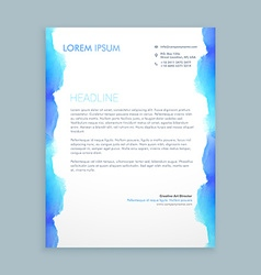 Letterhead design with blue ink vector