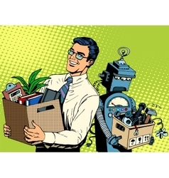 Man beats robot business concept knowledge and vector image vector image