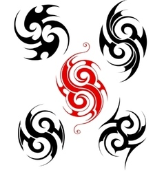 Maory style tattoo set vector