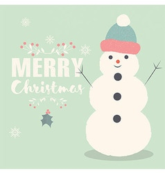 Merry christmas postcard with smiling snowman vector