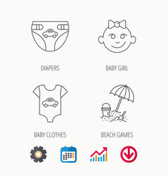 Newborn clothes diapers and baby girl icons vector