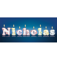 Nicholas written with burning candles vector