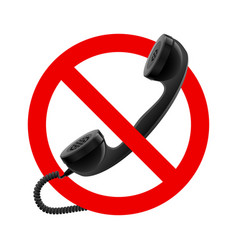 no handset allowed sign on white background vector image vector image
