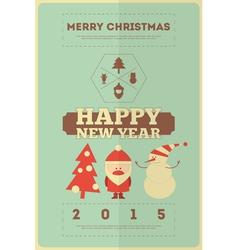 Retro Merry Christmas and New Years Card vector image vector image