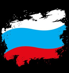 Russian flag grunge style on black background vector