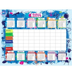 School timetable and calendar2014 vector image vector image