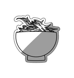 shredded chicken bowl vector image vector image