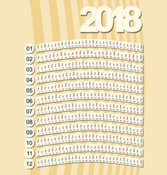 simple vertical calendar in unusual design retro vector image vector image