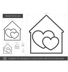 Sweet home line icon vector
