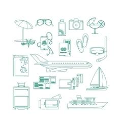 Tourism line art icon set vector image vector image