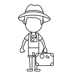 Tourist man photographic camera and suitcase thin vector