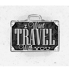 Tourist poster suitcase vector image vector image