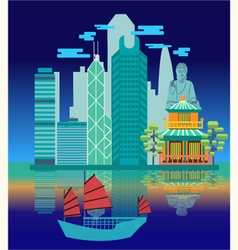 Travel skyline harbour with tourist junk vector image