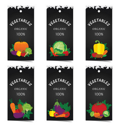 vegetable tag set vector image vector image