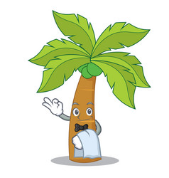 waiter palm tree character cartoon vector image vector image