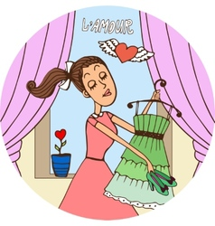 Young woman in love dressing fro a date vector image vector image