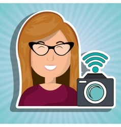 woman camera photography wifi vector image
