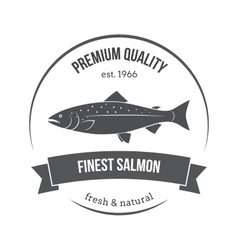 Salmon silhouette salmon label vector