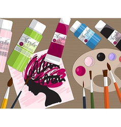 Collection of drawing tools and acrylic paints on vector image